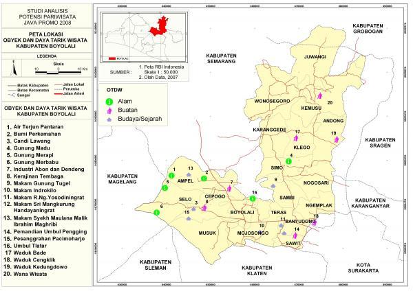 Peta Wisata Boyolali Lokasi Obyek Dan Daya Tarik Kabupaten